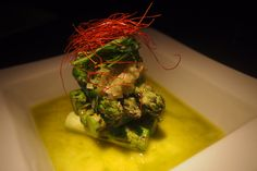 Grilled asparagus with green sauce @ Koji