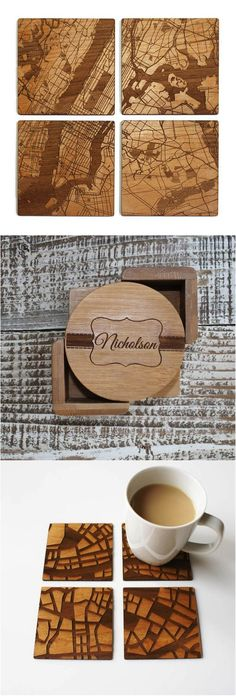 It can be so hard to come up with a good gift for housewarming parties, but no worries, we got you covered! These personalized coasters are so cool and totally unique! | Made on Hatch.co by independent makers & designers