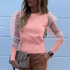 Mesh Women's Blouses Lace Puff Sleeve Fashion Elegant Shirt 2020 Autumn Spring Female Solid Pearl Beaded Tops Ladies Blouse – fashion Blouse Styles, Blouse Designs, Sexy Blouse, Pullover, Blouses For Women, Women's Blouses, Casual, Sleeves, Shirts
