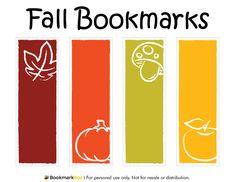 Free printable fall bookmarks. Download the PDF template at http://bookmarkbee.com/bookmark/fall/
