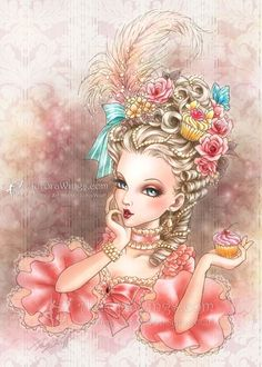Items similar to Free US Shipping - Marie Antoinette - Cupcakes Butterflies Roses Pearls - Rococo Fantasy Art - Signed Print - by Mitzi Sato-Wiuff on Etsy Type Illustration, Illustrations, Et Wallpaper, Creation Art, Corel Painter, Cupcake Art, Sign Printing, The Villain, Women In History