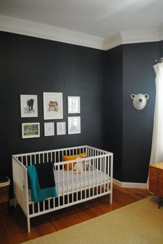 Name: Lawrence (Newborn) Location:Sydney, Australia My husband and I live in a rented two bedroom apartment in Sydney. With rentals in Sydney, you are usually very limited to what you can do to a space - painting a rental is pretty unheard of. I decided to try and push those boundaries by painting the walls a dark navy and replacing the Venetian blind with white linen curtains, brass fixtures and a block out blind.