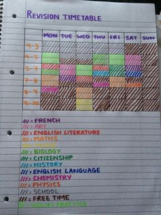 timetable - feel free to copy!Revision timetable - feel free to copy! Study Tips For High School, Middle School Hacks, High School Hacks, Life Hacks For School, School Timetable, Gcse Revision Timetable, Revision Tips, Revision Notes, Revision Planner
