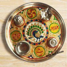Beautiful Decorative Pooja Thali For Diwali festival.