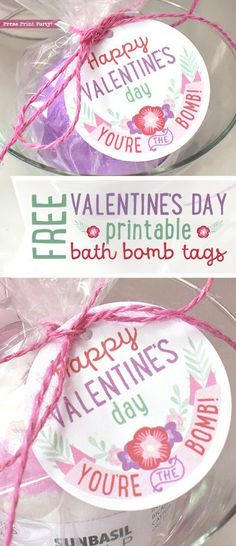 Free Valentines Day Bath Bomb Printable Tags - Press Print Party! Valentines day idea, gift, DIY, kids, for school - free printable #valentinesday #valentinesdaygiftideas
