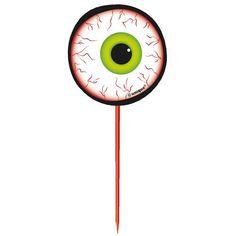 Halloween øje Kagepynt - Pakke med 8. Et uhyggeligt øjenæble til at sætte i kagen, i muffins eller cupcakes. En sød og sjov Halloween dekoration til al slags bagværk og madvarer