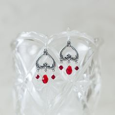 Victorian romance - Dazzling vintage style earrings featuring genuine crystal bicones and teardrops in siam red