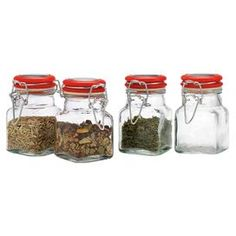 Add a homespun touch to your home d�cor with this country-chic organizing essential.  Product: 4 Piece spice jar setConstruction Material: GlassFeatures: Keep spices freshCleaning and Care: Hand wash only