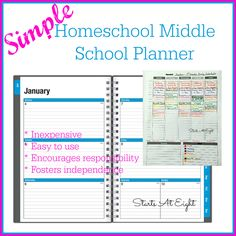 Simple Homeschool Middle School Planner is an inexpensive and simple system of beginning to work towards kids planning independently.