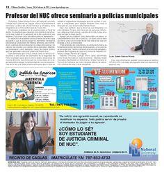 Profesor de @NUCPR @nuconline ofrece seminario a policías municipales @CampusPtoRico