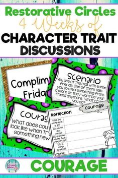 Conduct restorative circles in your classroom with these ready to use templates that are full of questions, discussion topics and ideas that can be used during circle time. This product stems around the character trait of courage and includes discussion q