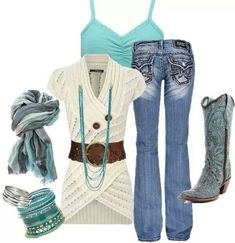 LOLO Moda: Stylish Women's Fashion Love the turquois, this outfit is cute Country Girls Outfits, Country Girl Style, Country Fashion, Country Chic, Country Casual, Mode Outfits, Girl Outfits, Casual Outfits, Fashion Outfits