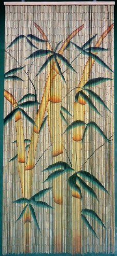 Tropical Bamboo Stalks Beaded Curtain 125 Strands Hanging Hardware