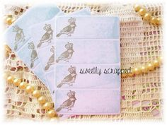 Vintage Bird Labels Stickers Distressed Blue by SweetlyScrappedArt, $2.50