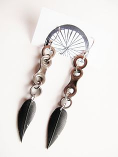 MOTHERS DAY SALE - Bike Chain Link Feather Earrings - Recycled Jewelry - handmade - bicycle
