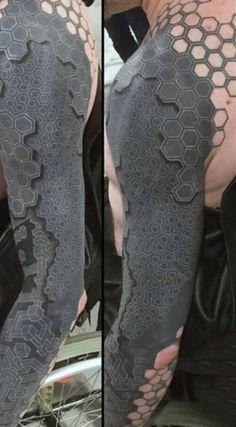 Geometric Optical Illusion Mens Full Sleeve Tattoo Design Ideas