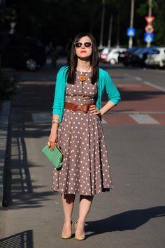 Teal and polka dots dress