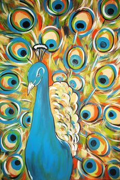 SALE Peacock Original Abstract Acrylic Painting 24x36 RESERVED FOR JENNIFER. $120.00, via Etsy.