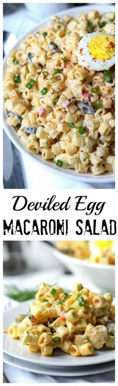 deviled egg macaroni salad is packed with eggs and creamy noodles. A super This deviled egg macaroni salad is packed with eggs and creamy noodles. This deviled egg macaroni salad is packed with eggs and creamy noodles. Pasta Dishes, Food Dishes, Pasta Soup, Masterchef, Think Food, Cooking Recipes, Healthy Recipes, Healthy Kids, Yummy Recipes