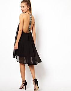 ASOS Emebllished Panel Back Swing Dress