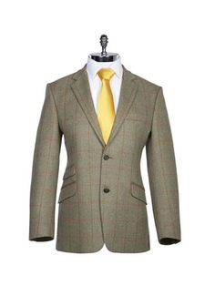 Sage with Rust Check Tweed Sports Jacket - Harvie & Hudson