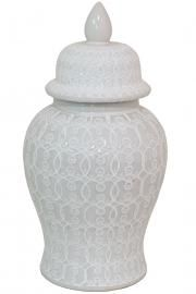 Embossed with a network of lacy loops, the Three Hands Ceramic Temple Jar-White brings sassy freshness to a décor staple. The ceramic lid. Ceramic Lantern, Ceramic Jars, White Temple, Decorated Jars, White Vases, Ginger Jars, Home Accents, Ceramics, Hands