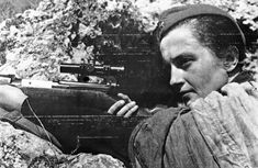 Russian girl sniper, Lyudmila Pavlichenko, who, by the end of the war, had killed a confirmed 309 Germans