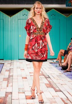 A wide dress with an ethnic print that characterises the new range.