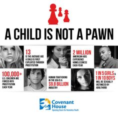 A child is not a pawn… but thousands and thousands of American kids are exploited in the sex trafficking industry every year. I'm teaming up with Covenant House to put a stop to the buying and selling of children – and so should you. www.covenanthouse.org