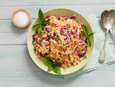 You can toss this crunchy and colourful braai (bbq) salad with creamy mayonnaise dressing together in no time - and it tastes as good as it looks. Recipe For Coleslaw Salad, Creamy Coleslaw, Salad Recipes, Braai Recipes, Vegetarian Recipes, Dinner Recipes, Cooking Recipes, Curry Pasta Salad, Noodle Salad