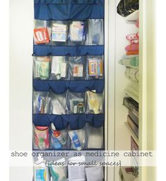 Use a Shoe Organizer as a Medicine Cabinet - DIY Ideas for Small Bathroom - Click for 18 Small Space Tips