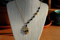 Little Gold Mummy Wire Wrapped Skull With Black Eyes by MummyLust, $35.00