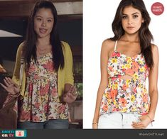 Mariana's floral cutout top on The Fosters.  Outfit Details: http://wornontv.net/44716/ #TheFosters
