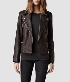 Womens Bleeker Leather Biker Jacket (Deep Burgundy) | ALLSAINTS.com