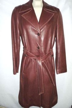WILSONS LEATHER Pelle Long Brown Trench Coat Thinsulate Buttery Soft Womens M #WilsonsLeather #Trench #Outdoor