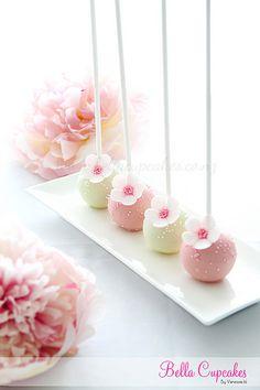 Cherry Blossom Cake Pops to go along with the cake and cupcakes Wedding Desserts, Wedding Cakes, Wedding Chocolates, Cakepops, Flower Cake Pops, Cake Pop Designs, Candy Birthday Cakes, Cake Pop Decorating, Cake Pop Tutorial
