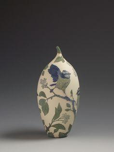 Blue tits & Hornbeam tree ceramic sgraffito vessel
