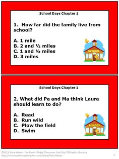 "School Days: These 30 task cards are for ""School Days (A Little House Chapter Book) by Laura Ingalls Wilder. On each card there is a multiple choice question about the story. Students are to write the letter of their answer choice on the response page. An answer key is given for the teacher."