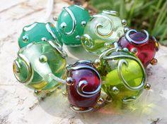 Perlenset 7tlg. mit zarten Silberverzierungen von Glassy Dreams auf DaWanda.com