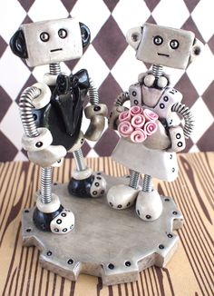 Gothic+Grungy+Robot+Wedding+Cake+Topper+READY+by+RobotsAreAwesome,+$60.00