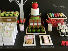 Fantastic back to school dessert table! #backtoschool #party