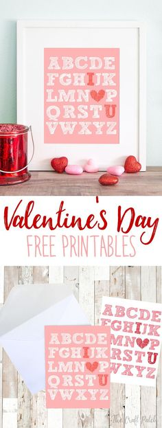 Download this adorable free printable Valentine's Day art to use as home decor or for making handmade Valentine's Day cards. Super cute DIY Valentine's Day decor.