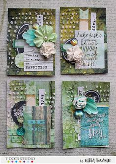 Happiness ATC by Riikka Kovasin for 7 Dots Studio Atc Cards, Card Tags, Paper Cards, Scrapbook Paper Crafts, Scrapbooking, Art Journal Pages, Journal Cards, Kirigami, Art Trading Cards