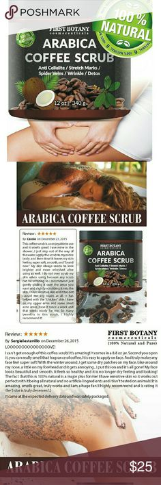 100% Natural Arabica Coffee Scrub Best Acne Anti Cellulite Stretch Mark treatment Spider Vein Therapy for Varicose Veins & Eczema softens skin scrubs away dirt & dead skin cells Caffeine stimulates blood flow reduces the appearance of cellulite, eczema, stretch marks, age spots, varicose veins & psoriasis Dead Sea Salt exfoliates your skin, removes dead skin, acne, whiteheads blackheads, breakouts & skin blemishes Coconut Oil hydrates/moisturizes Shea & Cocoa Butter antioxidants nourish…