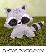 raccoon sewing pattern, felt raccoon, baby raccoon, raccoon plushie, raccoon…