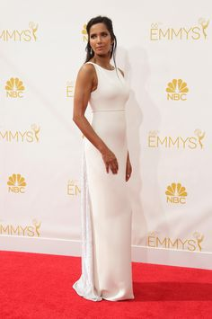 Padma Lakshmi's classic mani in essie 'imported bubbly' at the 2014 Emmy Awards.