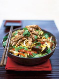 Stir-fries are great fun to make. Just get all the ingredients together and lay them out, then all you need is a really hot wok. Get stuck in!