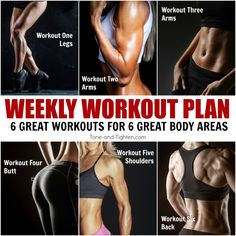 Total Body One-Week Workout Plan - - Tone and tighten head-to-toe with this amazing workout plan! Progress your workouts to enhance your results with 6 great workouts you can do at home! One Week Workout, Workout Plan For Men, Weekly Workout Plans, Workout Schedule, Workout Calendar, Workout Ideas, Slimming World, The Plan, How To Plan