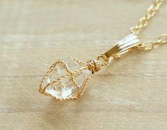 ハーキマーダイヤモンドのペンダントネックレス 14KGF - ユウコ
