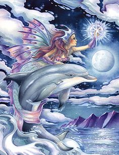 Wish Upon a Star - Jody Bergsma - Fairy Myth Mythical Mystical Legend Elf Faerie Fae Wings Fantasy Elves Faries Sprite Nymph Pixie Faeries Hadas Enchantment Forest Whimsical Whimsy Mischievous Dolphin Orcas, Mythical Creatures, Sea Creatures, Dolphin Art, Mermaids And Mermen, All Nature, Star Art, Fairy Art, Fantasy Art